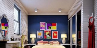 Comfortable Bedroom With Beautiful Color Concept