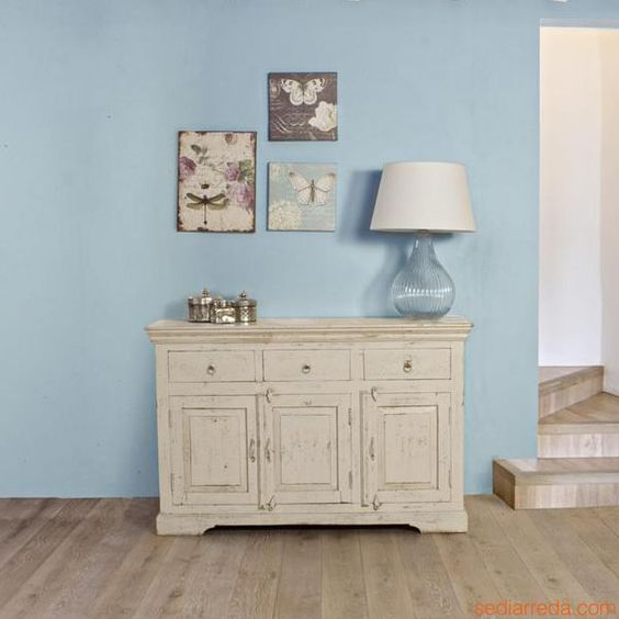 lamp and cupboard decoration for shabby style
