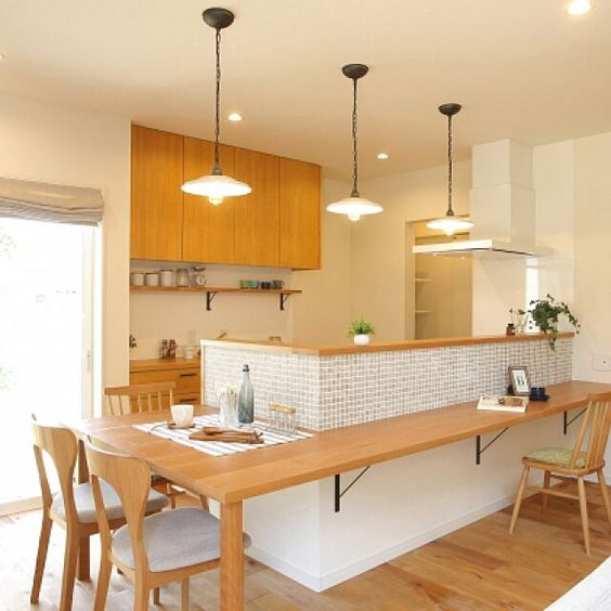 Dinning room blends with kitchen
