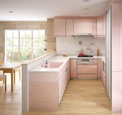 Traditional Japanese kitchen in pink color