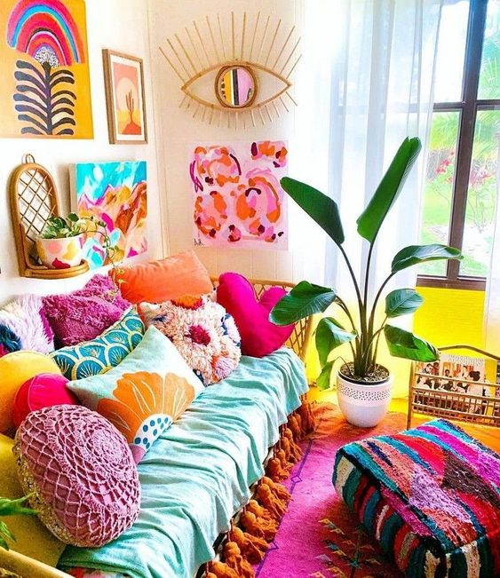 Colorful Mexican living room
