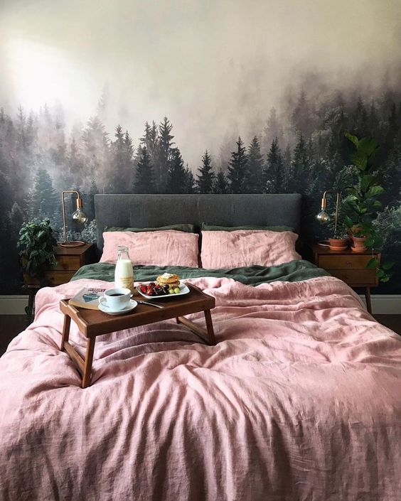 Forest concept with pink bed