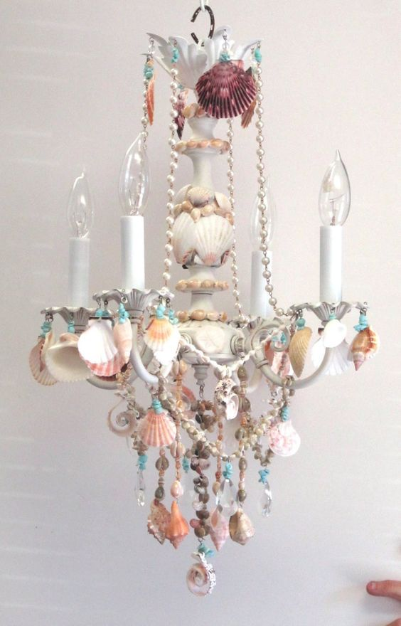 Beaded and shell chandelier for dining room