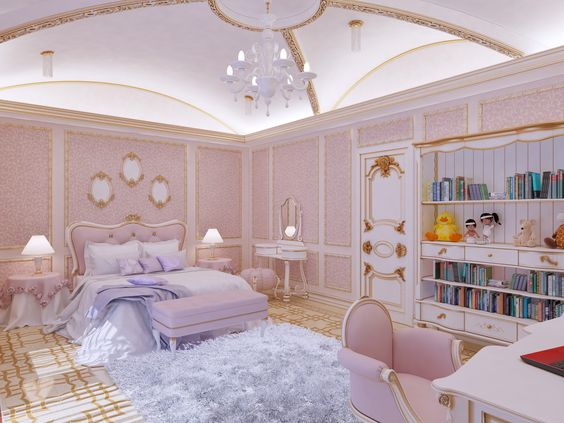 Modern Victorian bedroom style ideas with pink color