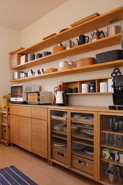 Types of kitchen cabinet design - open shelf type