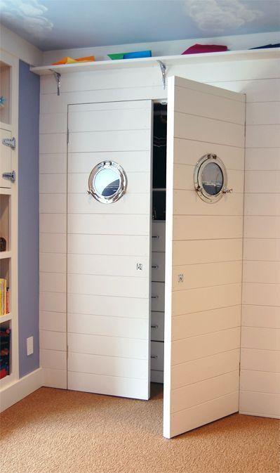 Nautical cupboard in nautical bedroom