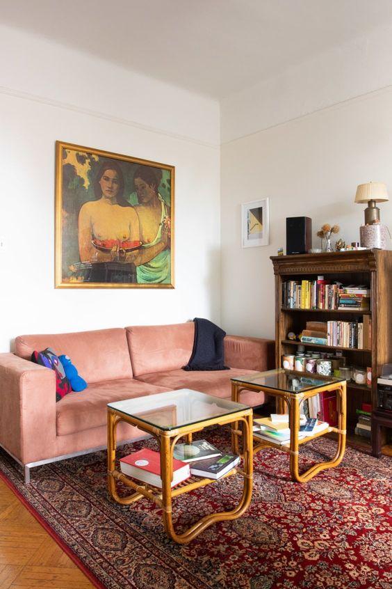 Cozy eclectic design with paint art
