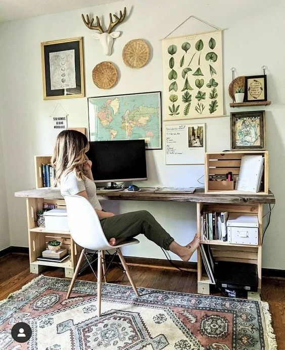 Boho eclectic office home design