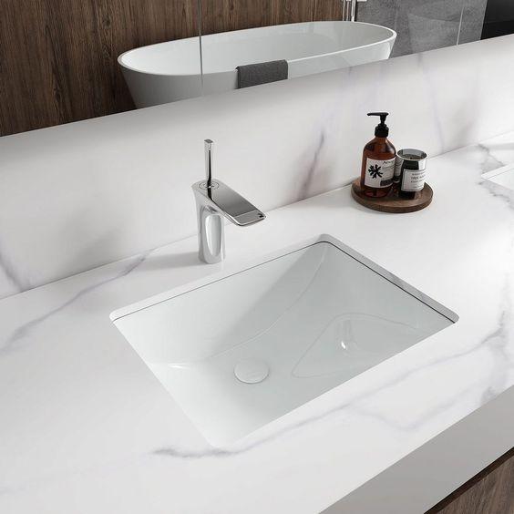 Ceramics sink with rectangular shape