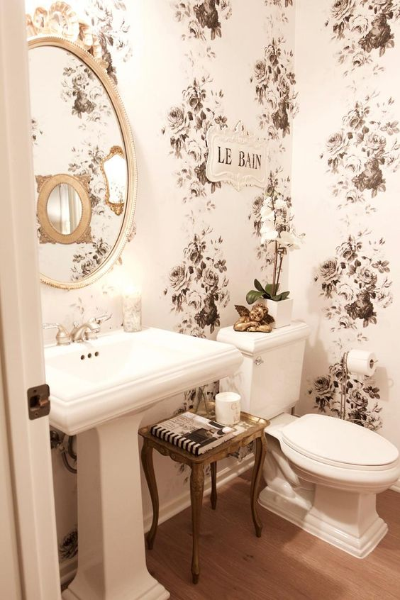 Floral wallpaper in modern Victorian bathroom design