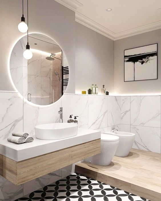 Modern Victorian bathroom design ideas with big round mirror