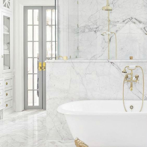 Marble tiles in modern victorian