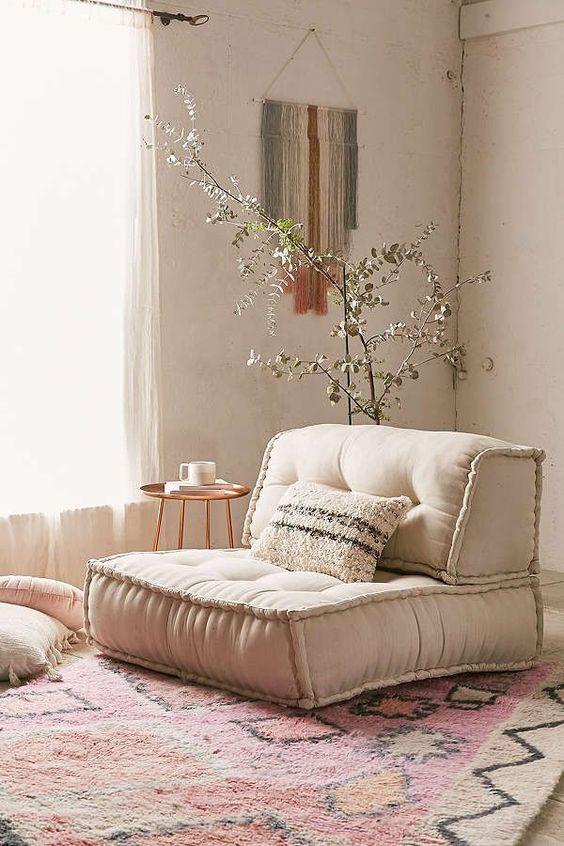 Meditation room with a sofa