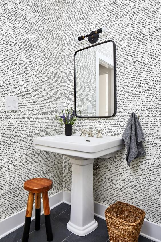 Pedestal sink in modern Victorian bathroom design