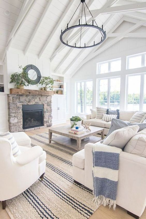 Exposed trusses in a nautical living room