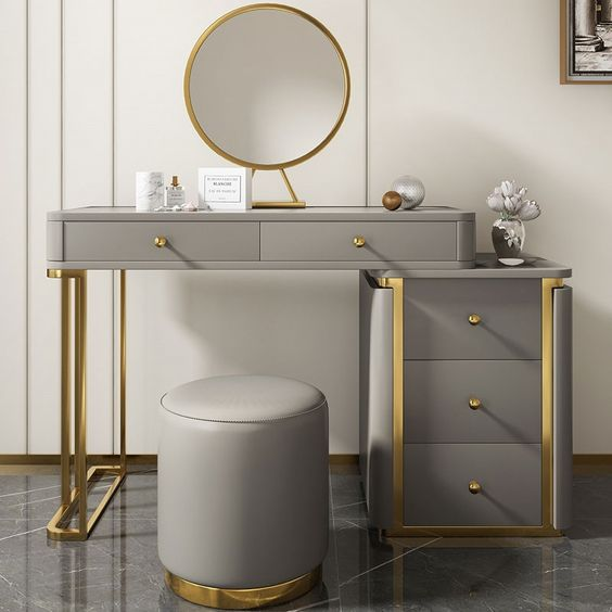 Round mirror dressing table for dressing room