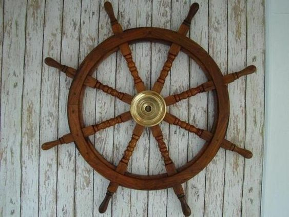 Wooden wheels boat ornament