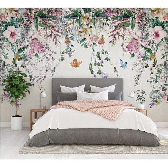 Floral pattern wallpaper for eclectic bedroom design