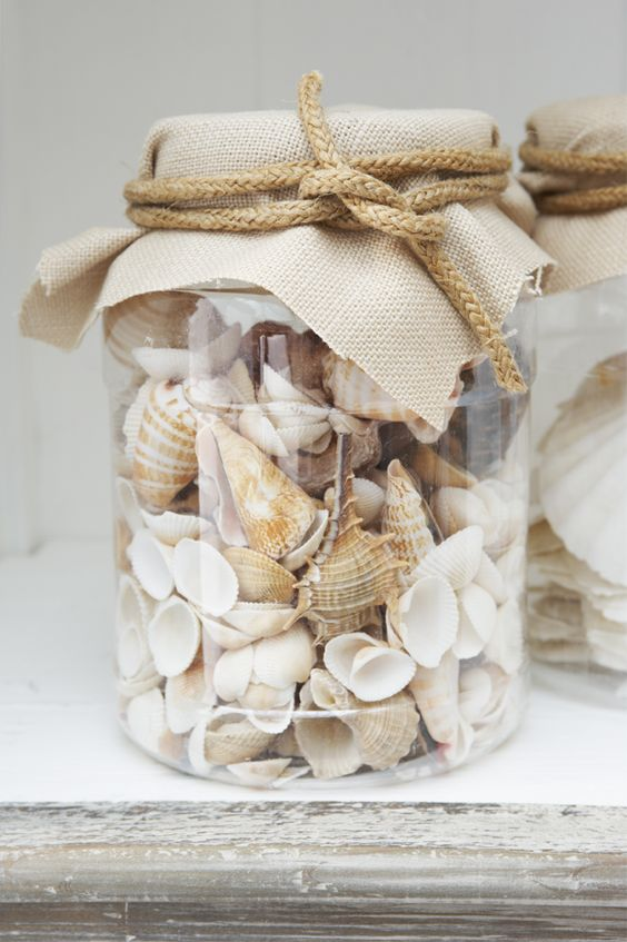 Shells decorations in nautical room