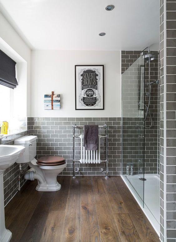 Black color tiles with wooden floor