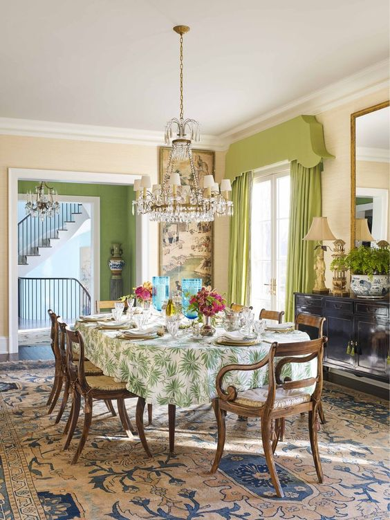 Green color concept in dining room