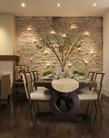 Textured walls in small modern Victorian dining room