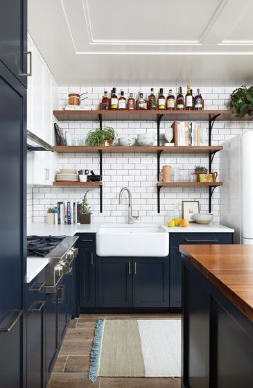 Eclectic kitchen design ideas with navy color