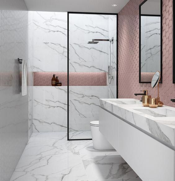 Modern Victorian bathroom with feminine atmosphere