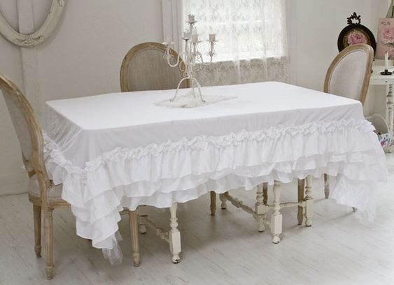 Polyester tablecloth with lace for shabby chic dining room