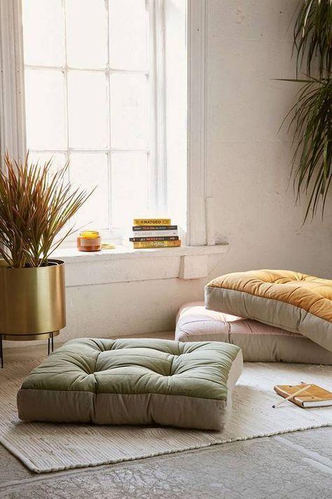 Meditation room with soft cushion