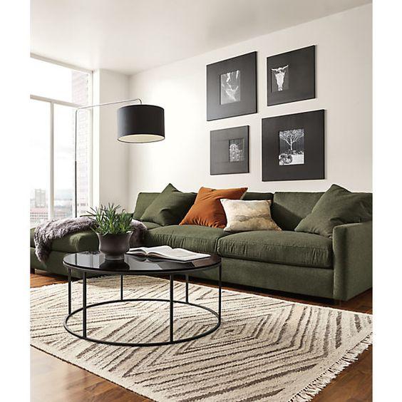 Green sofa in zen living room design