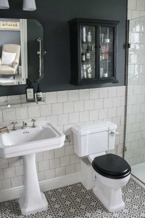 Toilet in black color for making modern Victorian bathroom design