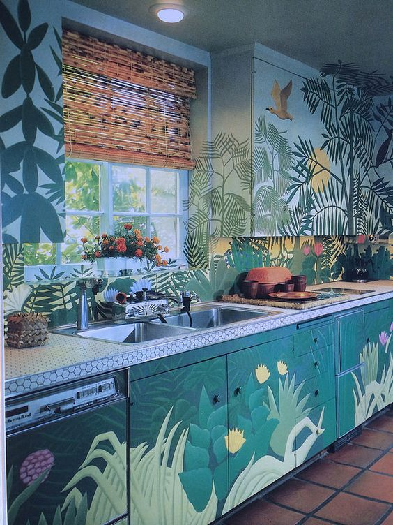 Eclectic kitchen design with wallpaper
