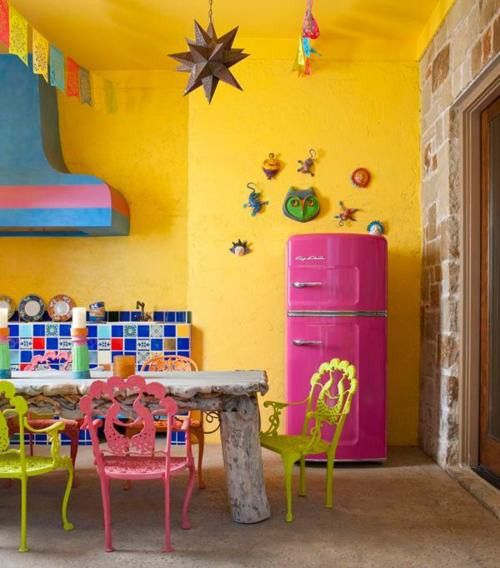 Bright colors in traditional Mexican kitchen