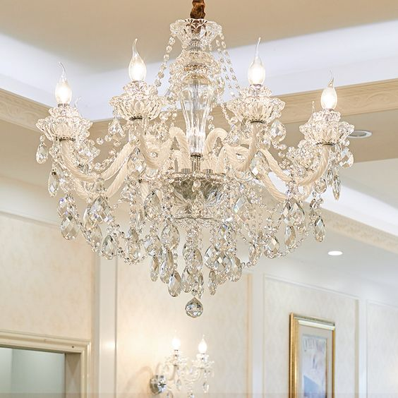 Crystal chandelier for shabby chic dining room