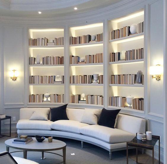 White book shelf in the modern Victorian study room