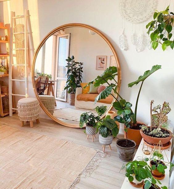 Meditation room with big mirror