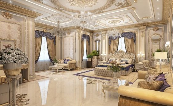 Modern Victorian bedroom style ideas with gold and purple color