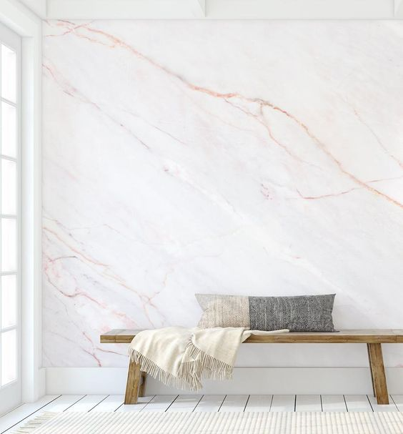 Eclectic bedroom design with marble wallpaper