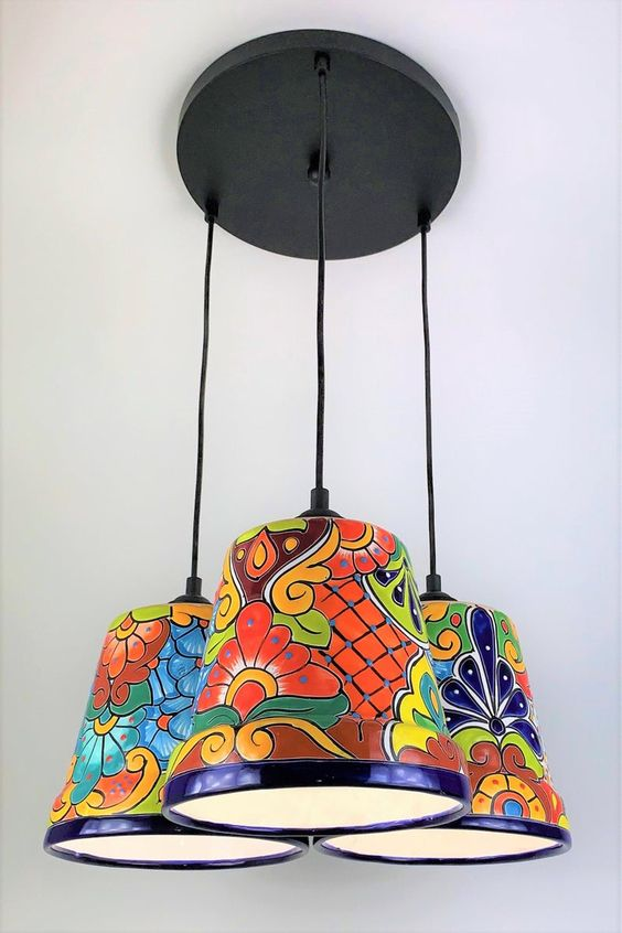 Talavera lamp from used plant's pot