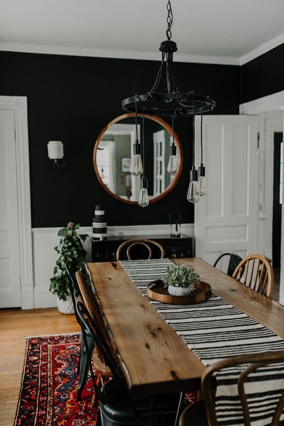 modern eclectic decorating ideas with round mirror