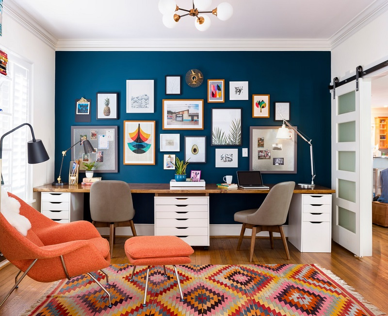 Office home with eclectic design decorating ideas