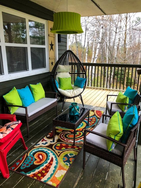 Eclectic front porch in our home