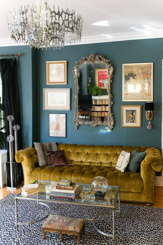 Corn yellow sofa with rectangular coffee table