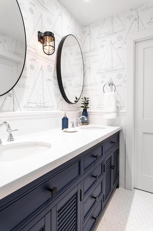 Nautical bathroom wall and tiles ideas