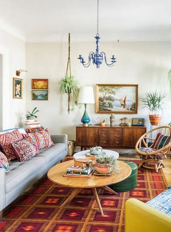 Wooden furniture in an eclectic room