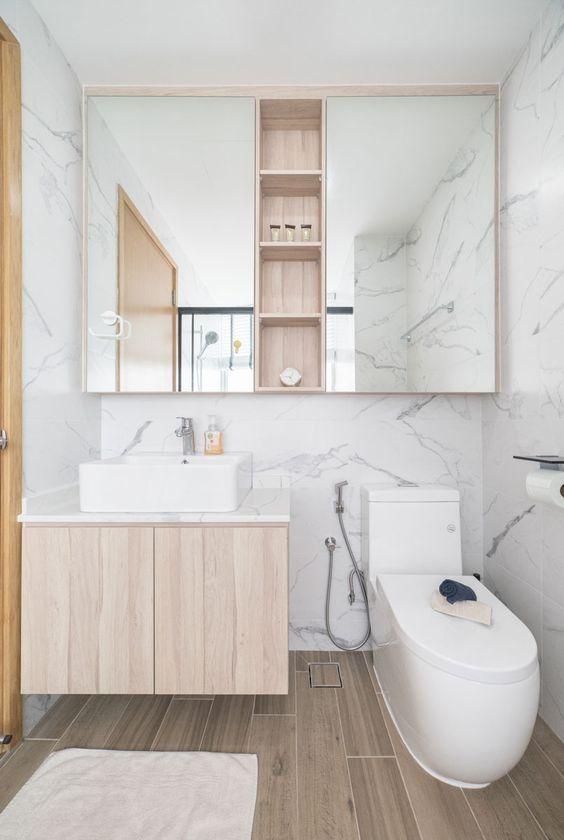 Wooden bathroom tiles