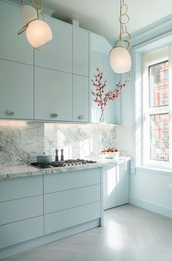 Sky blue color kitchen cabinet