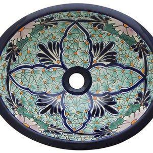 Floral pattern hand patterned sink