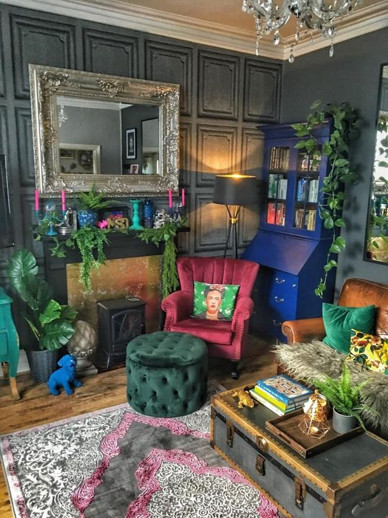 Ethnic accents in eclectic interior